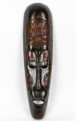Sale 9255H - Lot 100 - Artist Unknown, painted timber mask, Lombok, Height 104cm.