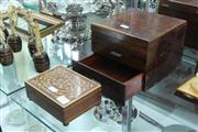 Sale 8360 - Lot 37 - Small Rosewood Box with Drawers & Swiss Musical Box