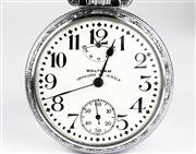 Sale 8402W - Lot 7 - WALTHAM VANGUARD OPEN FACE POCKET WATCH; white dial, Arabic markers, subsidiary seconds, up and down indicator at 12 oclock, on a 2...