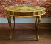 Sale 8420A - Lot 33 - A vintage 1940's Italian Florentine coffee table in rare sought after design and green gilded colourway, featuring lovely table top...