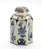 Sale 8517A - Lot 15 - An early Delft blue and white porcelain icing sugar shaker  with plated silver cap, marked to base Z.V 55, Delft Blauw CV, H 12cm