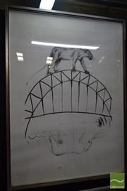 Sale 8541 - Lot 2061 - Jamie Boyd - Mine on the Bridge 107.5 x 78.5cm (frame size: 112.5 x 83cm)