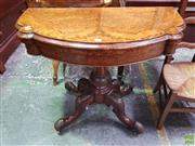 Sale 8634 - Lot 1016 - Victorian Burr Walnut Fold-Over Card Table, the shaped demi-lune top enclosing a green baize interior, on turned carved pedestal & o...