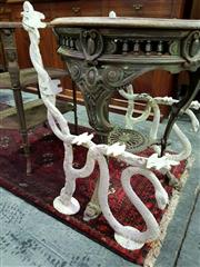 Sale 8653 - Lot 1042 - Pair of Victorian Style Cast Iron Bench Ends, with a serpent wrapped around the support