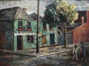 Sale 8722 - Lot 565 - Attributed to Terence John Santry (1910 - 1990) - Suburban Street Scene 44.5 x 59.5cm