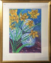Sale 8759 - Lot 2035 - Artist Unknown, Still Life, Flowers with Blue and White China, Watercolour, frame 99 x 80cm, signed lower right