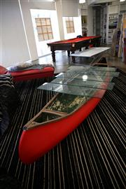 Sale 8825A - Lot 48 - Red canoe glass top coffee table