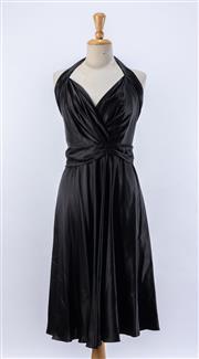Sale 8891F - Lot 70 - A Colette Dinnigan black pure silk satin halterneck cocktail dress with fluted hem, size medium