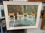 Sale 8895 - Lot 2041 - Jenny Wareham - Deck Chairs in the Rain, 1992, oil on canvas on  board, 39 x 50, signed and dated lower right