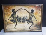 Sale 8958 - Lot 2068 - A Benfield Ceremonial Gathering acrylic on board, 59 x 83cm(frame), signed