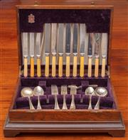 Sale 9058H - Lot 34 - A Viners of Cheffield Oak canteen (missing one fork)