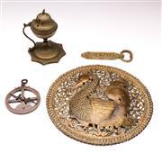 Sale 9078 - Lot 122 - A group of brass wares including incense burner