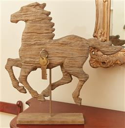 Sale 9098H - Lot 10 - A driftwood galloping horse on timber stand, Height 53cm x Width 50cm