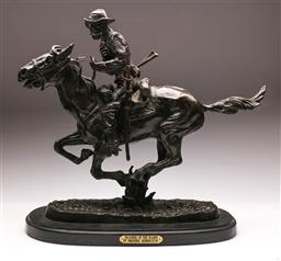 Sale 9122 - Lot 86 - Bronze After Frederick Remington - Trooper of the Plains H:54 L:60cm
