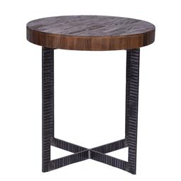 Sale 9180F - Lot 21 - A round wine/side table with a reclaimed Elm parquet top and solid iron frame (W 55cm x D 55cm x H 60cm)
