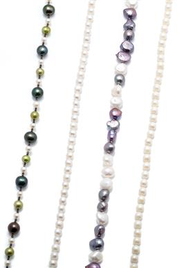 Sale 9246J - Lot 331 - FOUR CULTURED PEARL NECKLACES;  5.7 -10.5mm multicolour freshwater pearls to parrot clasp, length 47cm, 6.5mm round pearls to fishho...