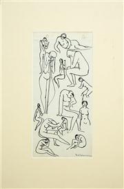 Sale 8411A - Lot 5071 - Bill Coleman (1922 - 1993) (2 works) - Untitled (Figure Studies) 25 x 13cm; 28 x 13cm