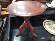 Sale 8424 - Lot 1080 - Timber Wine Table on Tripod Base