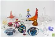 Sale 8524 - Lot 5 - Art Glass Rooster Together with Other Art Glass inc Paper Weights and Basket