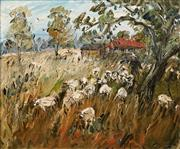 Sale 8575 - Lot 513 - Celia Perceval (1949 - ) - Sheep in a Landscape, 1970 50 x 60m