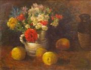 Sale 8787A - Lot 5059 - Roland Wakelin (1887 - 1971) - Still Life - Fruit & Flowers 1946 34 x 44cm
