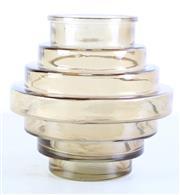 Sale 8980 - Lot 90 - Unusual Vintage Beehive Ribbed Moulded Amber Glass Vase, H:21cm