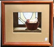 Sale 9072 - Lot 2025 - Tom Folwell Eggs and Leadlight Window 1987 gouache 42 x 48cm, signed