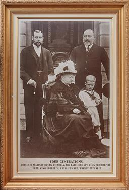 Sale 9103M - Lot 427 - A large framed print depicting four generations of the Royal family in Gilt frame. Frame size 148cm x 99cm