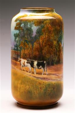 Sale 9122 - Lot 87 - Royal Doulton Painted Vase Depicting Homestead Scenes (H:12cm)