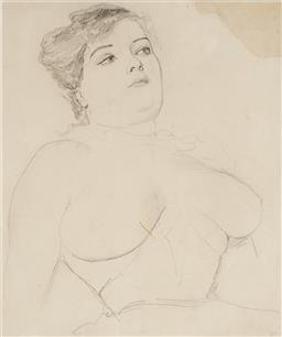 Sale 9133 - Lot 534 - Norman Lindsay (1879 - 1969) Unknown Model (Female Nude), c1909 pencil on paper 27 x 23 cm (frame: 61 x 53 x 3 cm) initialled lower ...