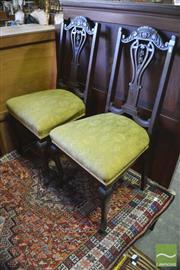 Sale 8402 - Lot 1079 - Set of Four Carved Parlour Side Chairs in Matching Upholstery
