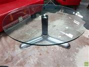 Sale 8625 - Lot 1017 - Glass Top Coffee Table over Chrome Base (H: 42cm D: 110cm)