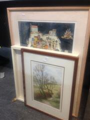 Sale 8655 - Lot 2071 - O. Bican Lithograph, Watercolour Landscape & Framed Cigarette Cards (3)