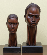 Sale 8677B - Lot 529 - A pair of carved African busts of females, taller 36cm (damage)