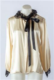Sale 9003F - Lot 18 - A Carla Zampatti vintage Black Lace & Ribbon Silk Shirt Size 14