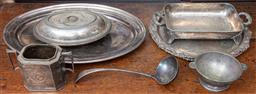 Sale 9120H - Lot 69 - A collection of silver plated wares including three Sheffield plated serving trays, sugar pot, ladle, and bowl , Largest tray width...