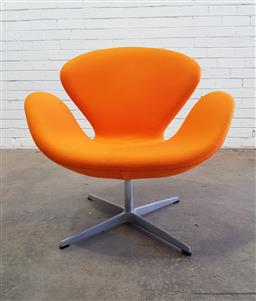 Sale 9134 - Lot 1011 - Original swan chair in orange by Fritz Hansen (h:78 x w:78 x d:67cm)