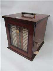 Sale 8431A - Lot 607 - Antique Timber Presentation Cabinet w Glazed Panel Front