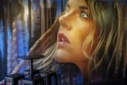 Sale 8357A - Lot 1 - Matt Adnate (Melbourne, Australia) - The Girl with Eyes acrylic spray paints on MDF panels