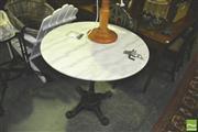 Sale 8371 - Lot 1090 - White Marble & Cast Iron Cafe Table (80cm diameter)