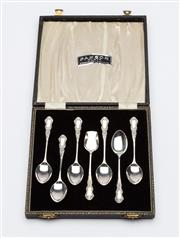 Sale 8651A - Lot 46 - A set of silverplate afternoon tea spoons with matching sugar shovel in original velvet lined presentation box.