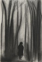 Sale 8713 - Lot 538 - Robert Dickerson (1924 - 2015) - Figure in forest 39 x 27cm