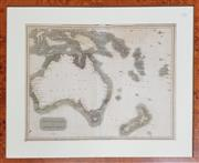 Sale 8868 - Lot 1106 - 19th Century Engraved & Hand-Coloured Map of New Holland & Asiatic Isles from Thomsons New General Atlas 1814, in burr veneered...