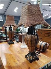 Sale 8889 - Lot 1025 - Pair of Cane Table Lamps