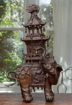Sale 9120H - Lot 70 - A 19th century Chinese elephant pagoda bronze censer, total Height 38cm