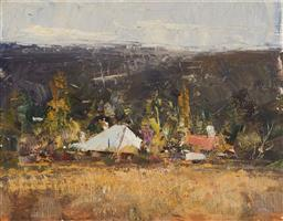 Sale 9133 - Lot 588 - Ken Knight (1956 - ) Hill End Cottage oil on board 18.5 x 23.5 cm (frame: 40 x 46 x 4 cm) signed lower left