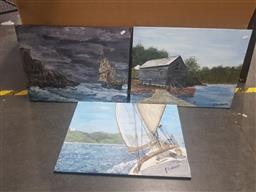 Sale 9152 - Lot 2059 - JOHN COLBERT - Maritime scene and water mill (x3 paintings) each: 41 x 61 cm