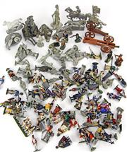 Sale 8330T - Lot 98 - Assorted Lead And Plastic Soldiers; including Stadden, unpainted and Cannons.
