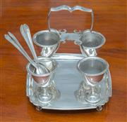 Sale 8341A - Lot 42 - A Hardy Brothers silverplate 4 cup egg cruet stand with spoons, H 19cm