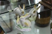 Sale 8346 - Lot 33 - Zsolnay Pecs Rabbits with a Holahazza Example